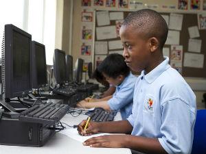 Pupil at computer